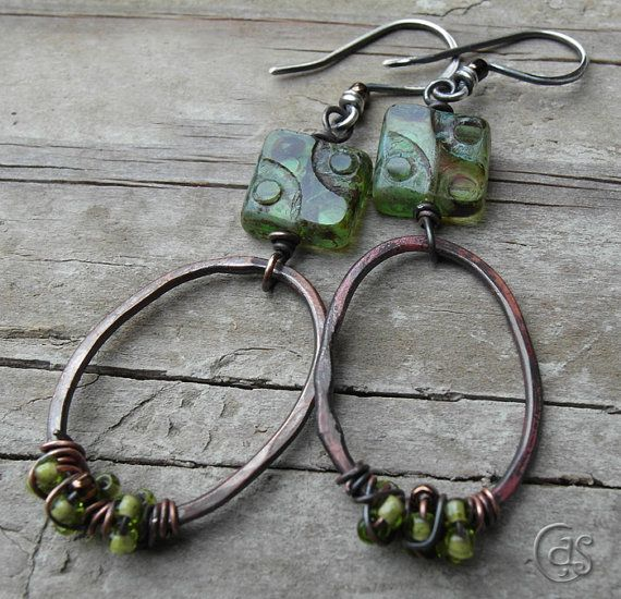 Green Dot Earrings Beaded Copper Hoops Boho by ArtandSoulJewelry