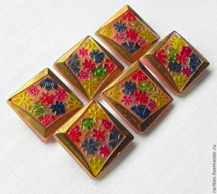 Купить Чешские пуговицы Цветы,богемская пуговица,богемское стекло,позолота - стеклянные пуговицы