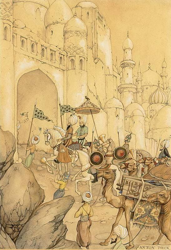 Anton Pieck  -  1000 and One Nights  - The caravan reached the White City