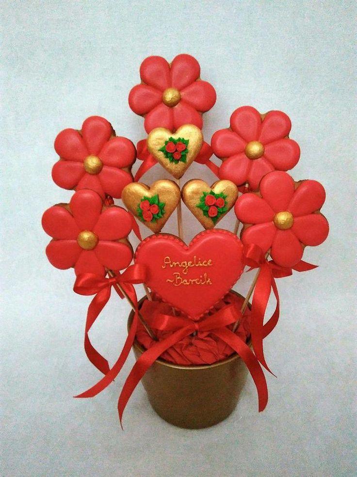 Golden hearts cookie bouquet