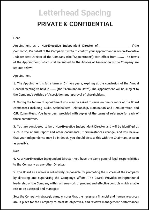 Appointment Letter For Non Executive Independent Director Sbb Lettering Appointments Board Of Directors
