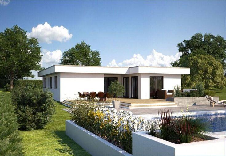 Hommage 134 - Hanlo Haus. Der Bungalow Hommage 134 des Anbieters Hanlo Haus besticht von außen durch seine kubische Form im Bauhaus-Stil in einem modernen, schlichten Weiß. Diese He