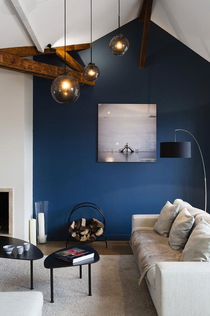 Unusual Paris Apartment With Interiors In Blue Tones Interior Design Home Decor I Blue Walls Living Room Wall Decor Living Room Apartment Blue Living Room