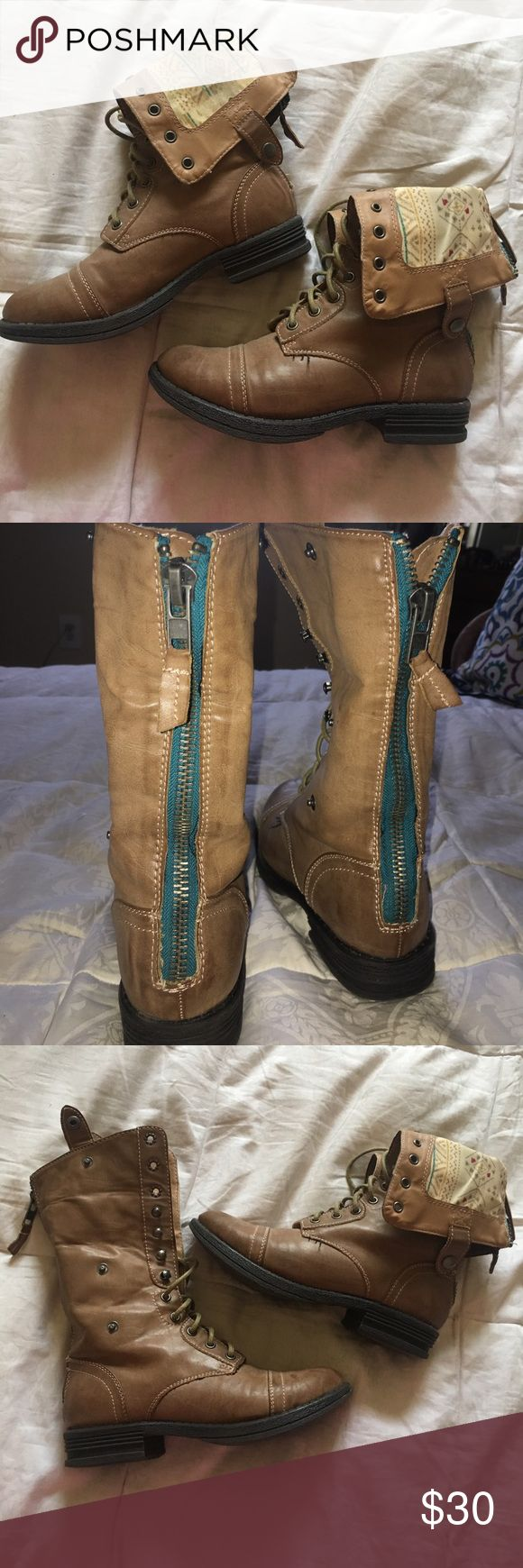 Cute combat boots Cute tan/brown combat boots. Small heel. Lace up all the way. Or can fold them down and button them. Inside pattern seen when folded down. Round toe. Not worn a lot. Madden Girl Shoes Combat & Moto Boots