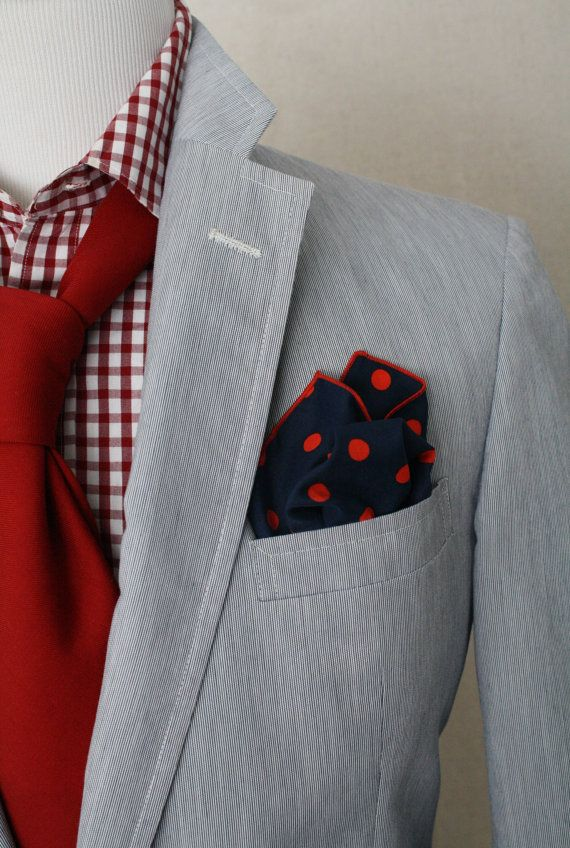 Navy/red polka dot pocket square, grey jacket, red/white gingham shirt, red tie