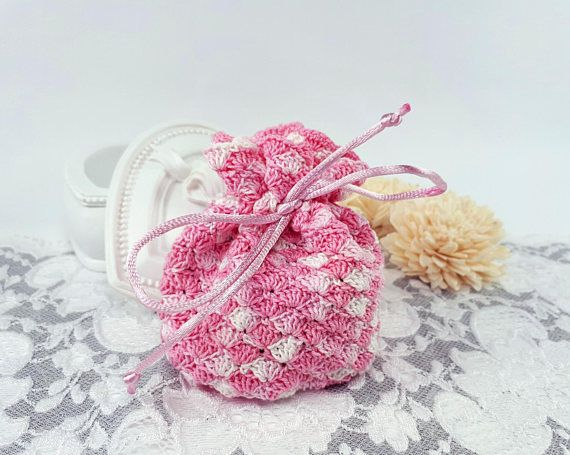 Pink crochet travel pouch jewelry storage bag pink textile
