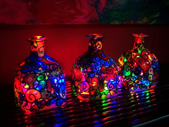 Art Noir Night Lights, Art Noir lamps are a beautiful accent anytime but best enjoyed as a night light. This is when the art, lights, and bottle all come into play to produce a fantasy of color. , Art Noir Night Lights , Gift Ideas Project