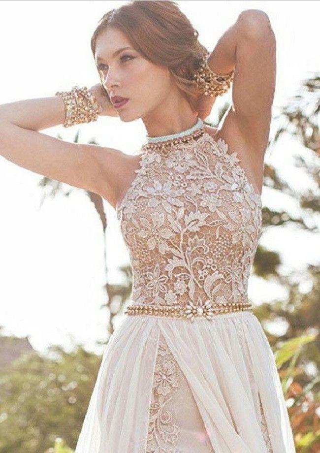 Elegant A-line Halter High Neck Floor-length Lace Ivory Wedding Dress Chiffon Prom Dress