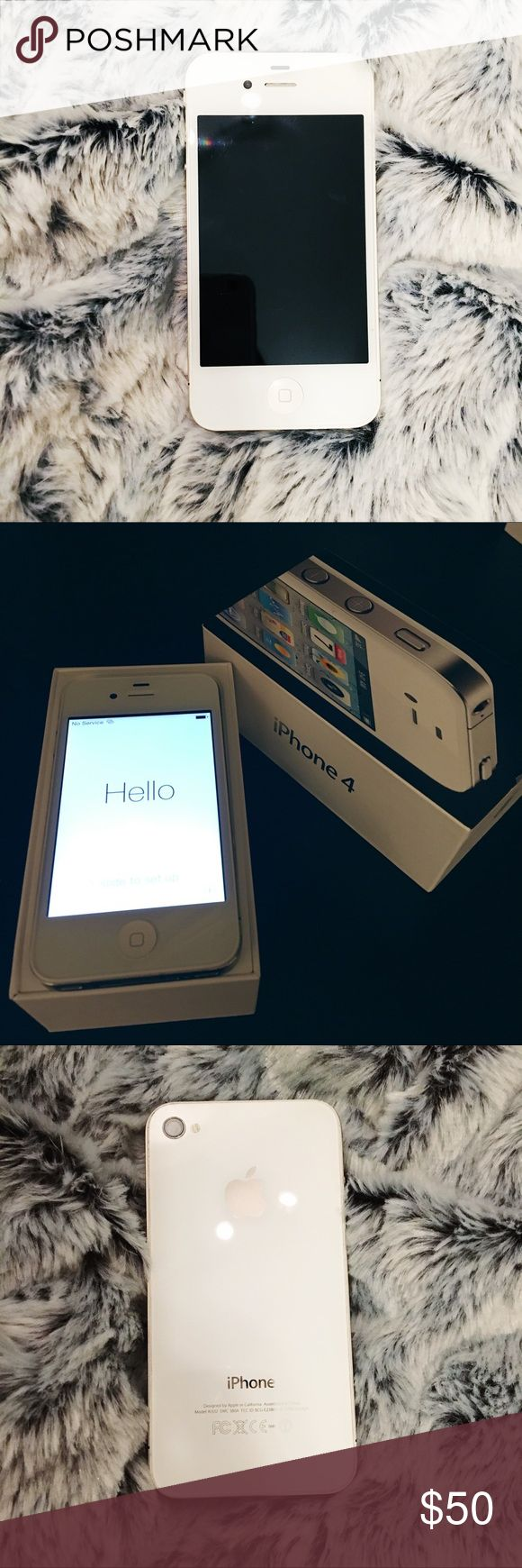iPhone 4 16GB White iPhone 4 16GB White not unlocked. AT&T compatible. Awesome condition. Had a case on the back and a cover on the front. No major scratches or dings at all. I will send you the charge chord but you will eventually want to buy a new one bc it's fraying. Make me an offer 😘 Apple Other