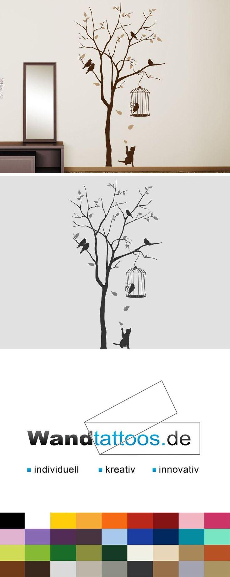 Wandtattoo Katze unterm Baum mit Vogelkäfig als Idee zur individuellen Wandgestaltung. Einfach Lieblingsfarbe und Größe auswählen. Weitere kreative Anregungen von Wandtattoos.de hier entdecken!