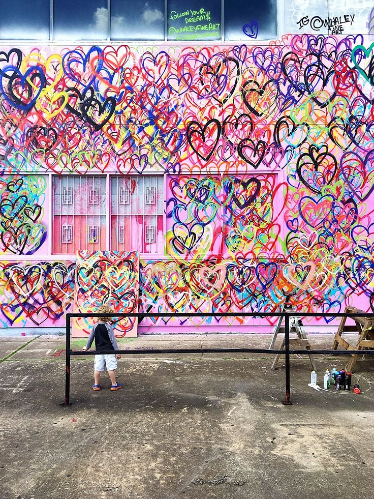 Wall 45-3---Hearts mural--- 333 S Jensen Dr, Houston, TX 77003