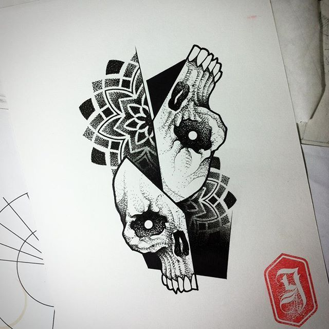 #goma90 #tattoosketch #blackwork #dotwork #skulltattoo