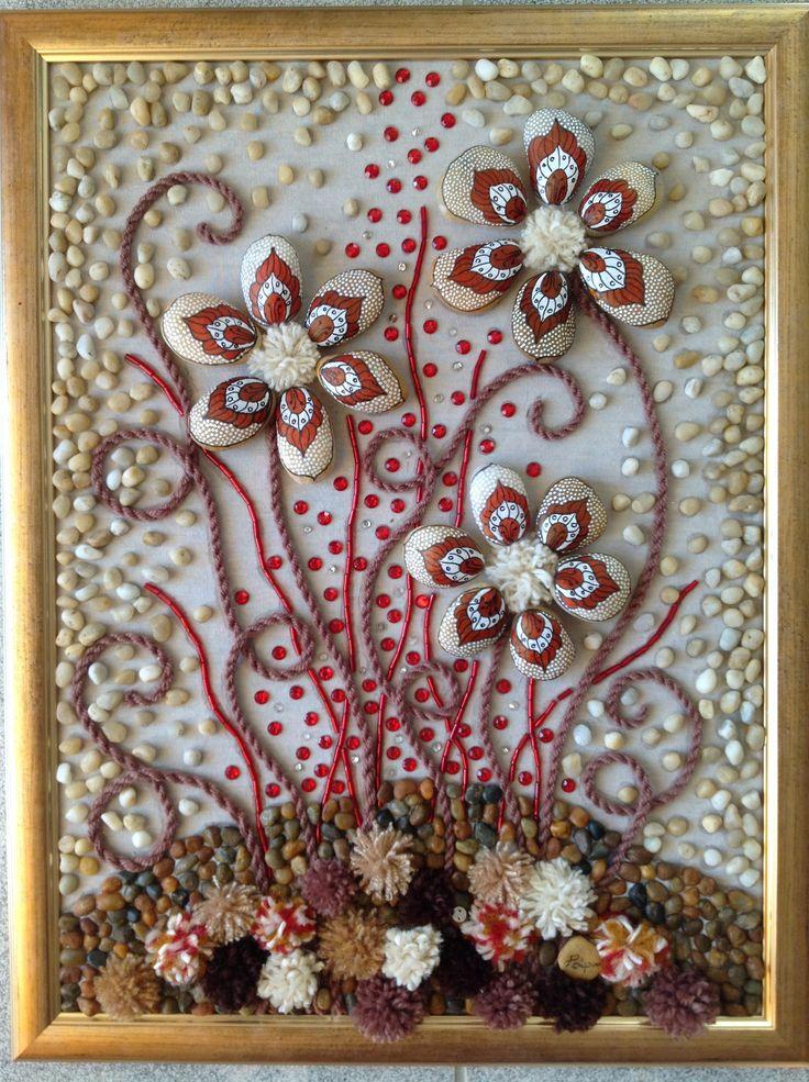 Piros kővirágok 30/40 cm kavics-textil kép
