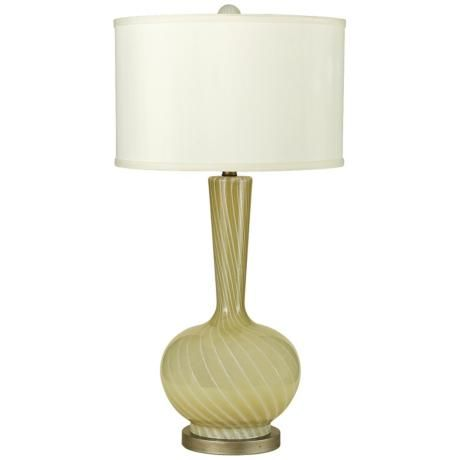 Off candice olson lighting cleo table lamp hand blown butter cream swirl glass with cream linen shade