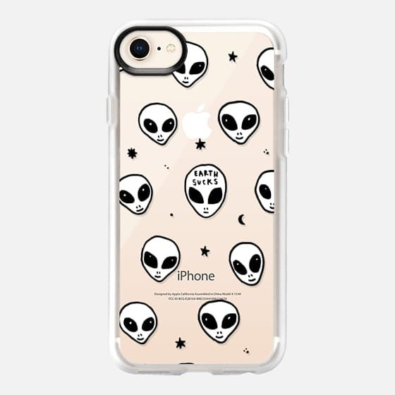 Casetify iPhone 8 Classic Grip Case - Cute White UFO Space Alien Drawing Pattern by hyakume
