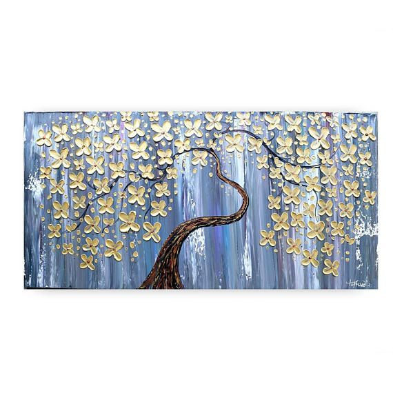 Paintings TREE Painting On Canvas Original Art Artwork Flower Abstract Wall Heavy Texture Katey