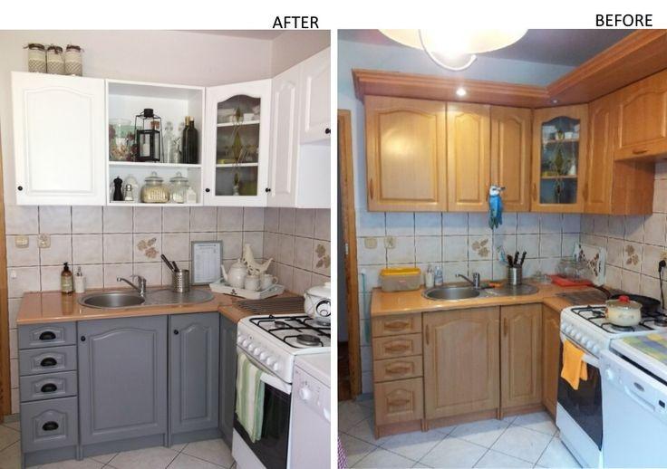 Przemalowanie szafek kuchennych + wymiana uchwytów/ Repainting of kitchen cabinets + handles exchanging