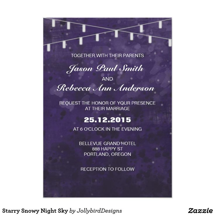 Starry Snowy Night Sky 5x7 Paper Invitation Card. #lovely #weddinginvitation design with #dreamy #abstract #watercolor #starry #nightsky theme