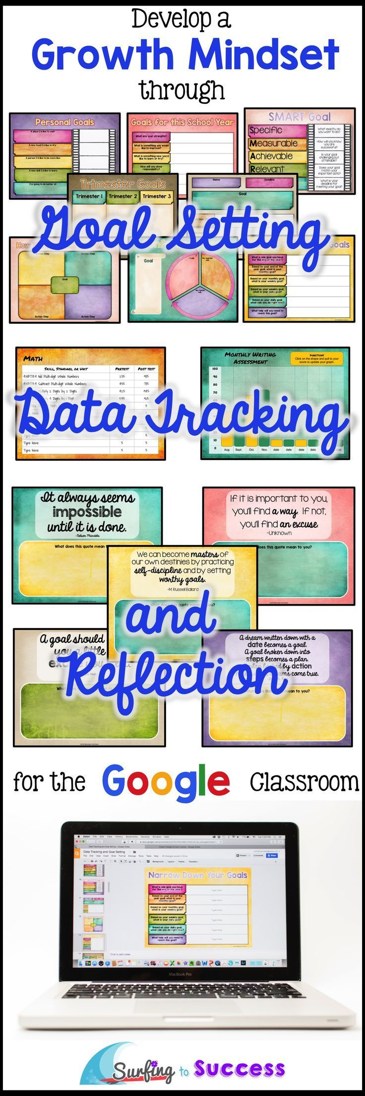 How do you help students develop a growth mindset? Give them the opportunity to set goals, track their data growth, and reflect. This paperless customizable technology resource gives your students a digital journal to use year round in your Google classro