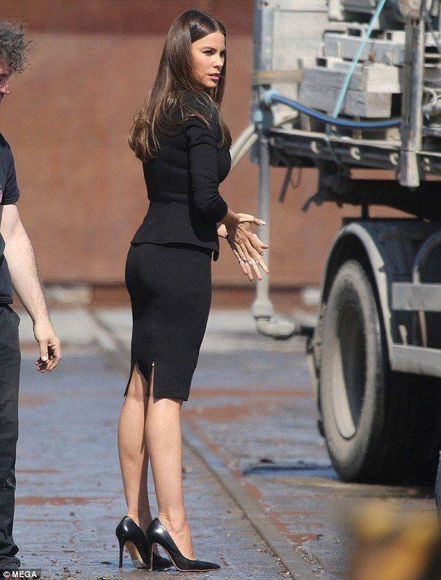 She means business! Sofia Vergara looked the part of seductive government agent when she was shooting redemptive thriller Bent in Civitavecchia in Rome, Italy, on Tuesday