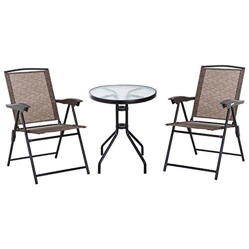 Outsunny Ensemble de Jardin 3 pièces 2 chaises inclinables Multi ...