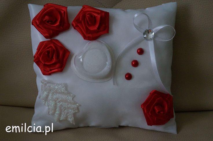 Poduszka - poduszki, poduszeczka na obrączki Czerwień i Biel Ślub Wedding