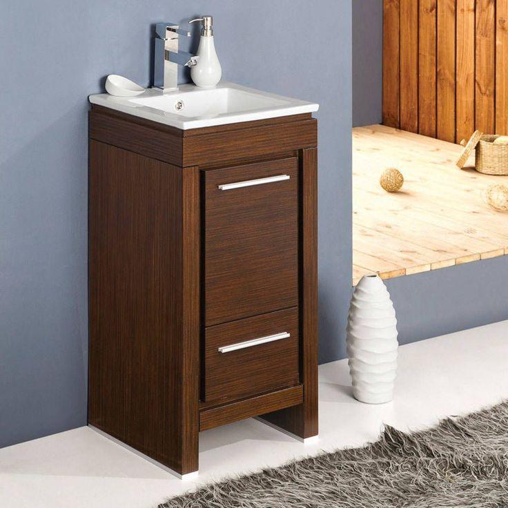Fresca Allier 16-inch Wenge Brown Modern Bathroom Cabinet (Allier 16 Modern Bathroom Cabinet w/ Sink), Size Single Vanities