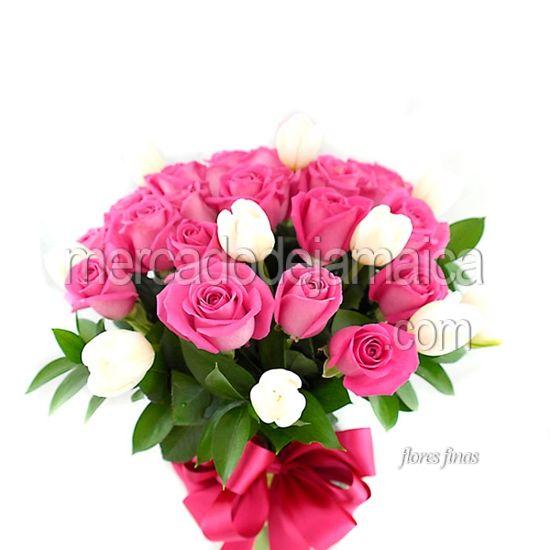 Florerias en Polanco Tulipanes Blancos y Rosas White Aqua !| Envia Flores