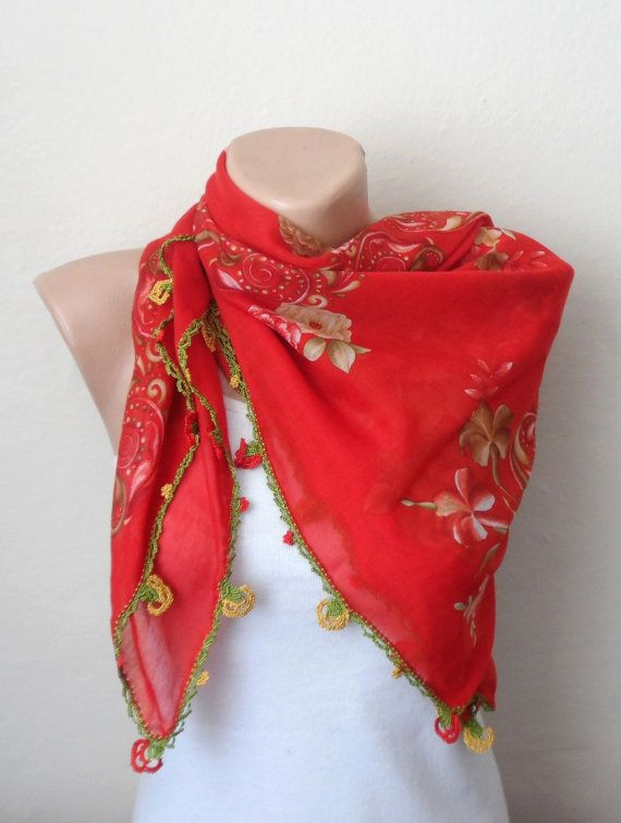red scarf yellow  flower  green brown cotton turkish by DamlaScarf