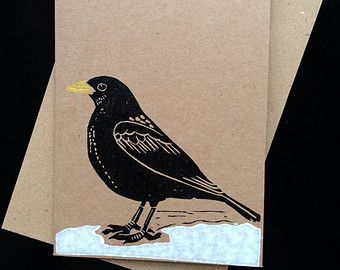 Christmas card - Blackbird in Snow - lino print