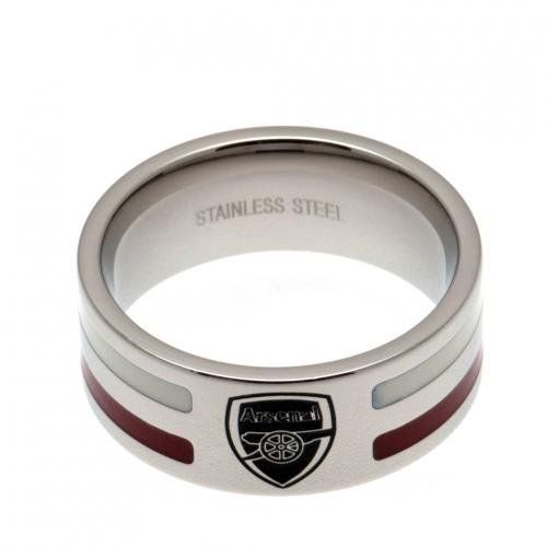 Arsenal Colour Stripe Ring - Small. The Arsenal Colour Stripe Ring-small is a brand new fashion accessory which makes a perfect style statement whilst showing your allegiance and love for your fav club. It is made up of stainless steel. The ring features cool colour stripe insert and club crest. It comes complete in a gift box making it ideal for gifting any Arsenal fans. The Arsenal Colour Stripe Ring is an official licensed product.