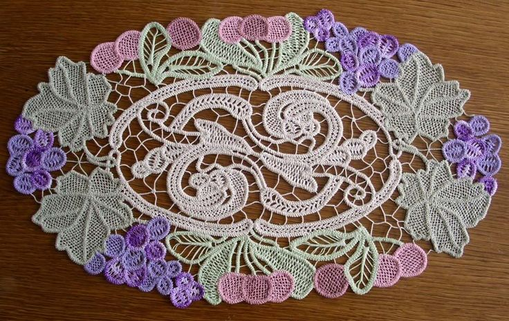 Beautiful colorful example of Romanian Point Lace