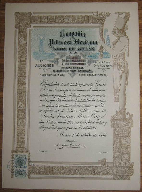 MEXICO Compania Petrolera Mexicana Faros de Aztlan 20 Shares 1916 +coupons