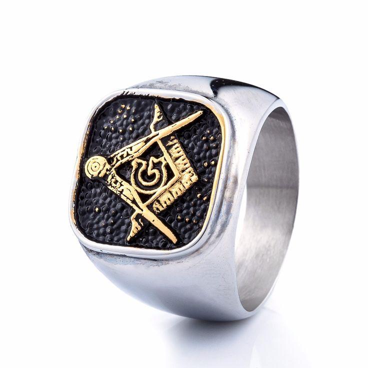 cool silver titanium religion masonic men ring,fashion rock punk 316L stainless steel jewelry freemason rings for men  #Affiliate