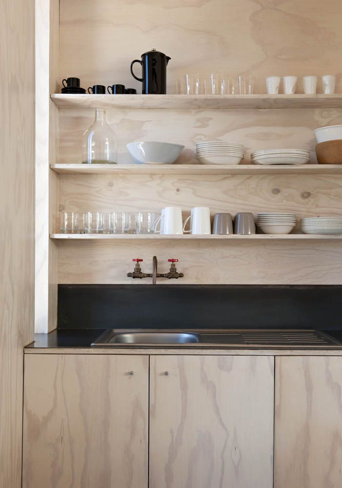 Plywood kitchen in Scarborough South-Africa beach cabin designed y Beatty Vermeiren-architects | Remodelista