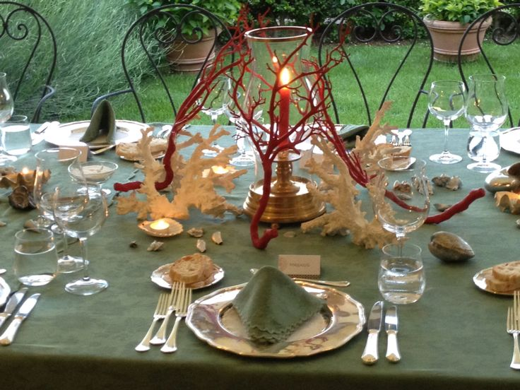 center table with coral