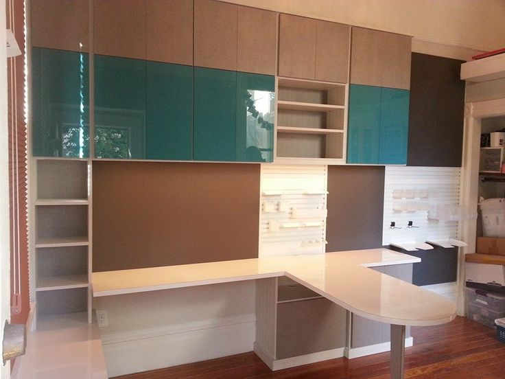 Craft Room, California Closets, Parapan Doors, Turquoise, Home Office
