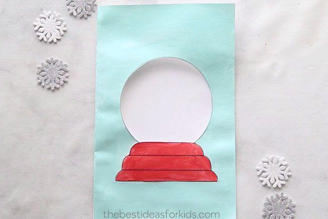 Snow Globe Template Card The Best Ideas For Kids Diy Christmas Cards Christmas Card Crafts Homemade Christmas Cards