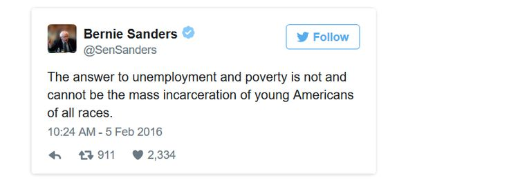 IS He On CRACK? Another economically illiterate musing from socialist Bernie Sanders --------------------------------------------- And some are reminding Sanders that he voted for the 1994 crime bill that is causing what he says is a problem now!!