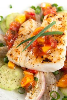 Healthy Seafood Recipe: Grilled Halibut With Fresh Mango Tomato Salsa