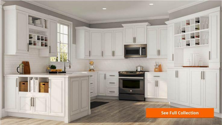 Wall Kitchen Cabinet In Satin White, White Oak Kitchen Cabinets Home Depot