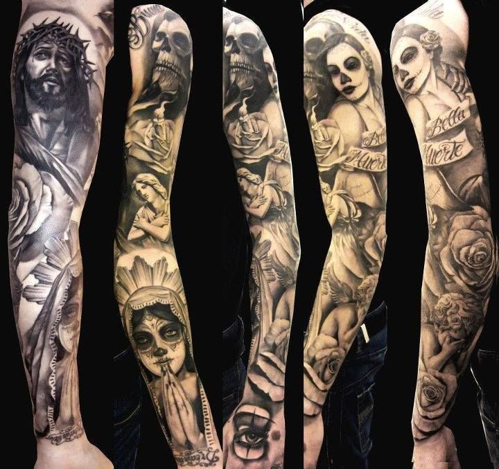 Black And White Full Sleeve Tattoo Designs: Black And White Religious Day Of The Dead