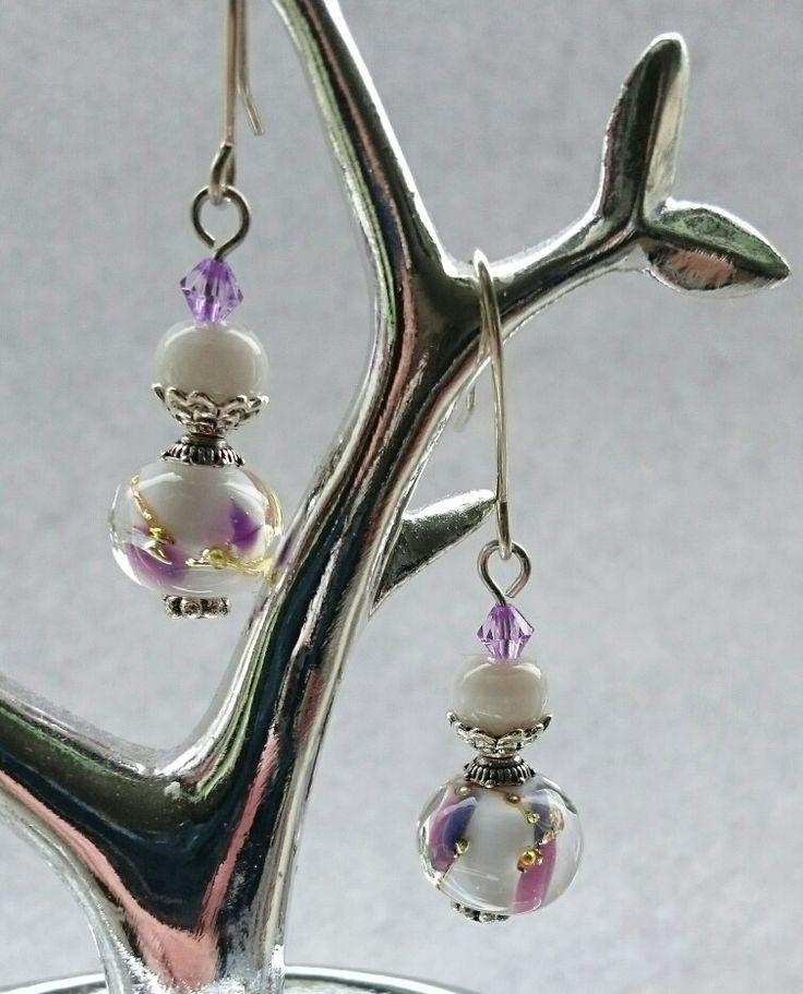 Purple White lampwork earrings hand made by me glas burn in my studio FOR SALE 19$