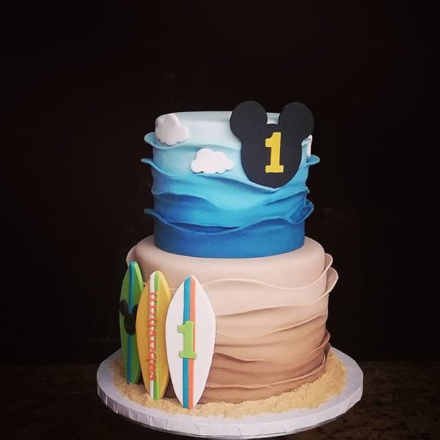 Mickey Surf Party Birthday Cake