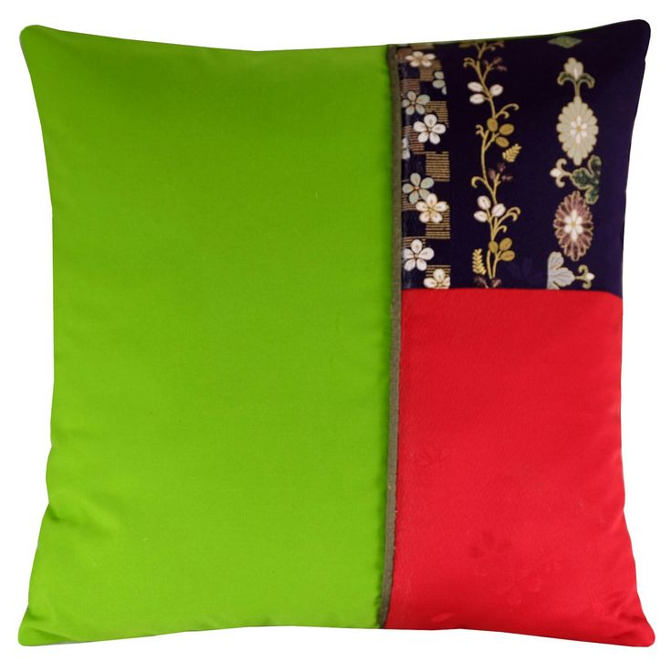 Lime green floral kimono silk cushion cover new from Diverse Cushions