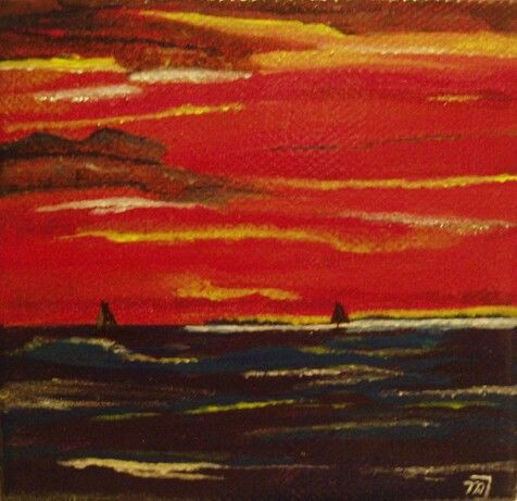 Sun going down. Little painting on canvas by marjacq.art. 10 by 10 cm.