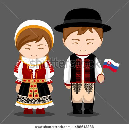Slovaks in national dress with a flag. Man and woman in traditional costume.  Slovakia.