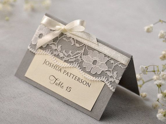 Custom listing 20 Grey Lace Place Card by forlovepolkadots