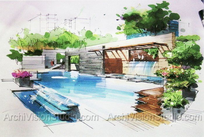 106 best color pencil images on pinterest architectural for Swimming pool drawing
