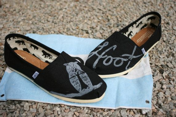Owl TOMS Shoes by themattbutler on Etsy, $75.00 - Britt Lanae... you need these!!